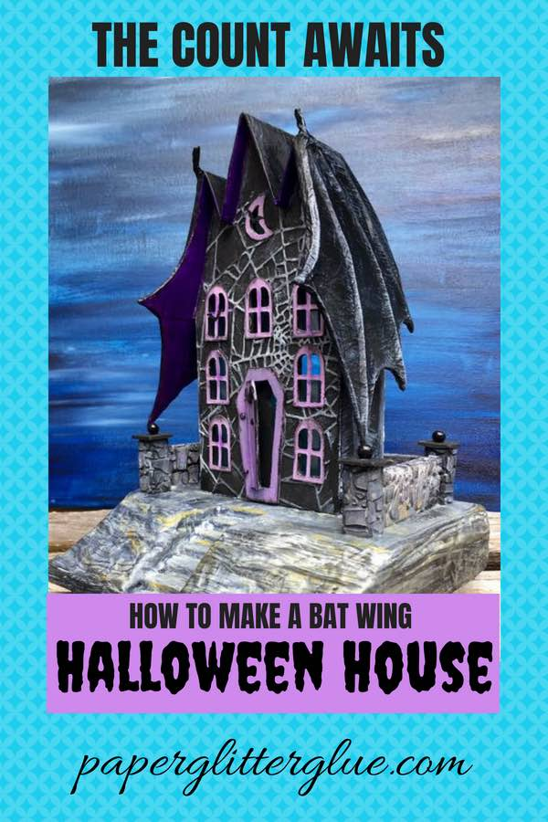 Find instructions on how to make a cool Bat Wing Halloween house out of paper and cardboard #halloweenhouse #putzhouse #halloween #papercraft