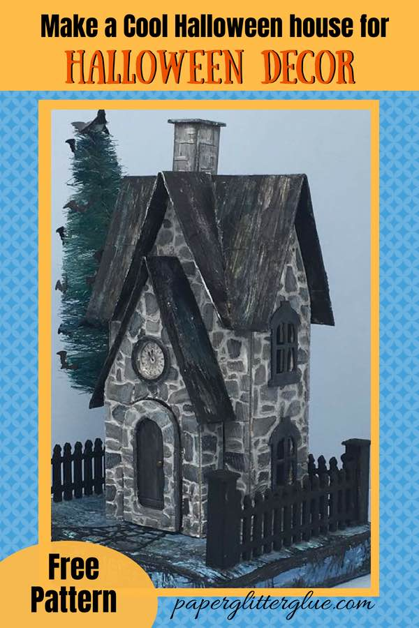 Make a Cool Halloween House Greystone Clock House for Halloween decor free pattern #papercraft #paperpattern