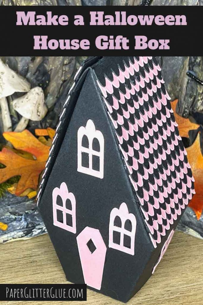 Make a Halloween House Gift Box with scalloped roof shingles