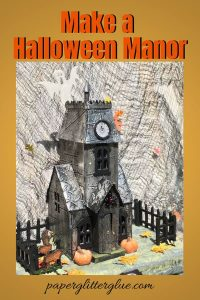 Tim Holtz Halloween Manor made with an industrial embossing folder and metallic tape