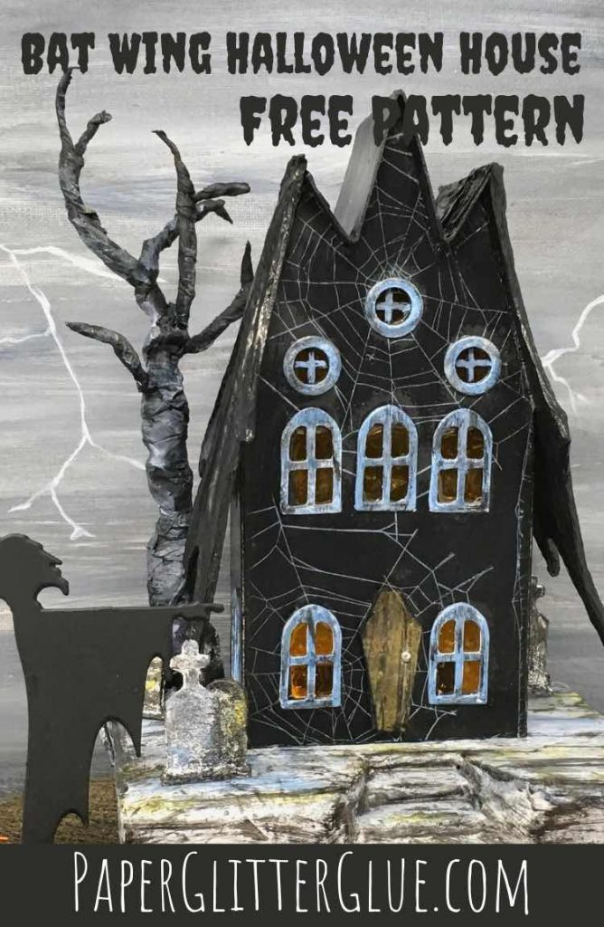 Make a cardboard Bat Wing Halloween House