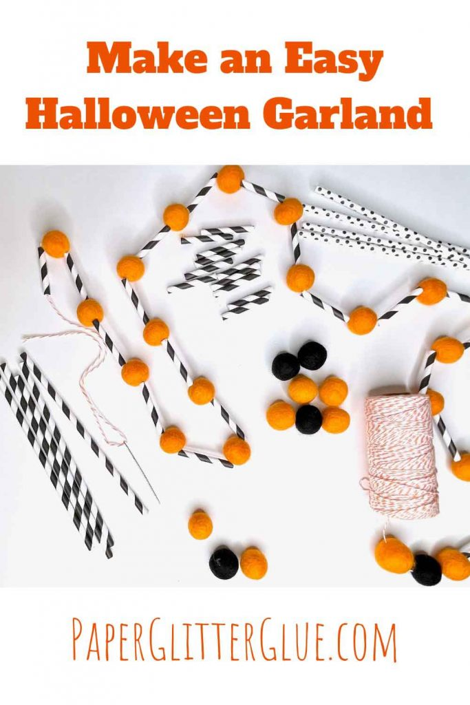 Supplies to make a Halloween garland including felt balls and paper straws
