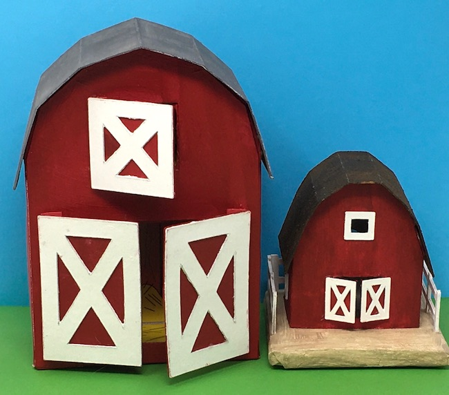 Make little cardboard barns