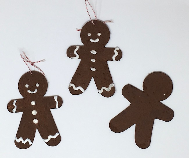 Make paper gingerbread ornaments