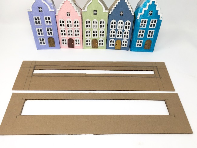 Making cardboard base for the Putz Dutch canal houses