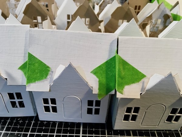 Making little Putz houses for craft party