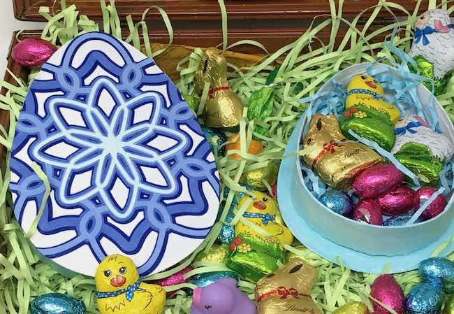 Mandala decorated Easter egg candy box