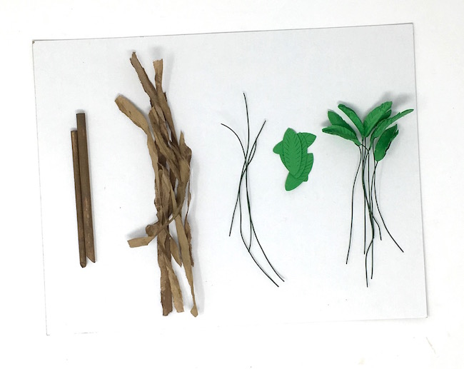 Materials for miniature paper palm tree
