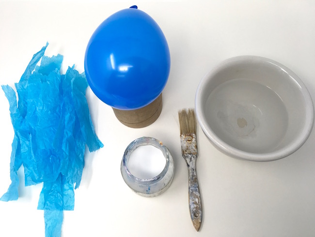 Materials to make paper mache egg