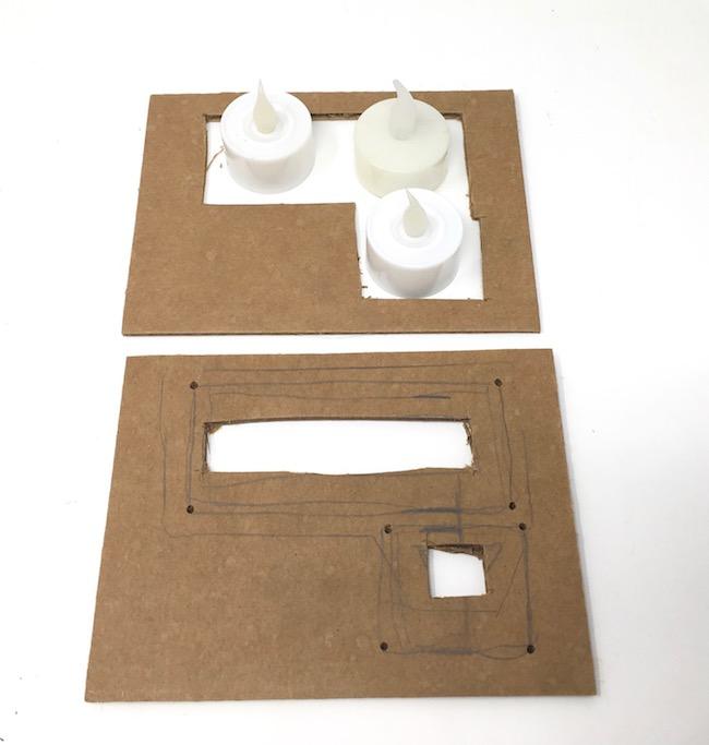 Measure for LED lights Spooky Miniature Halloween Paper house