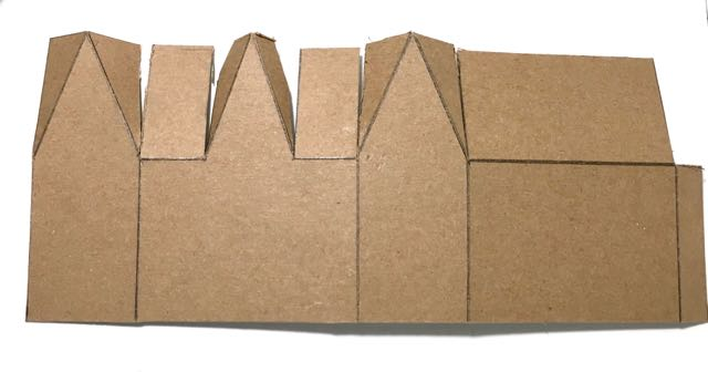 Gable Halloween paper house cardboard pattern cut out