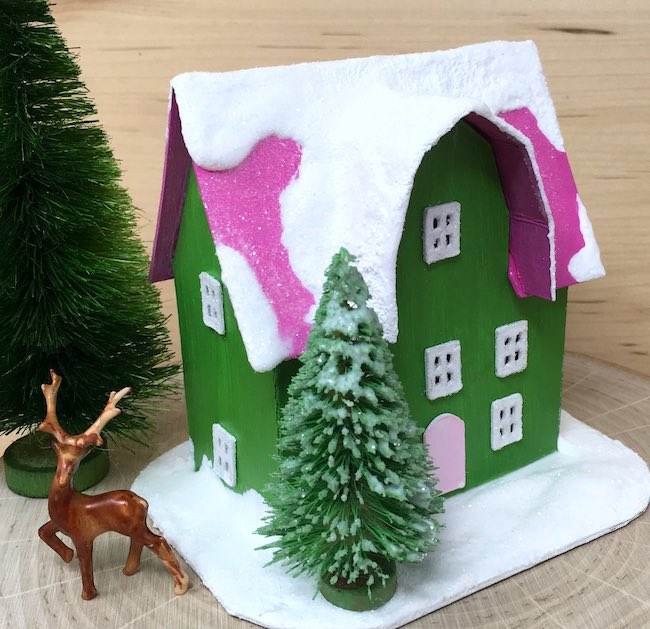 Mini Paper Christmas House Barn Front