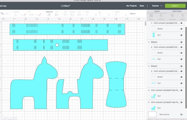Mini Unicorn Pinata pattern in Cricut Design Space