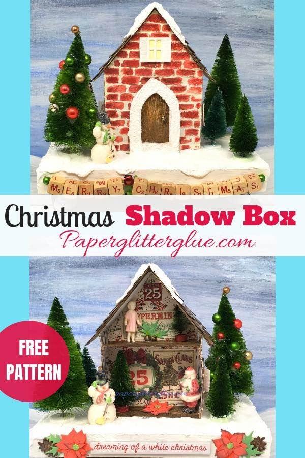 Miniature Christmas house shadow box template
