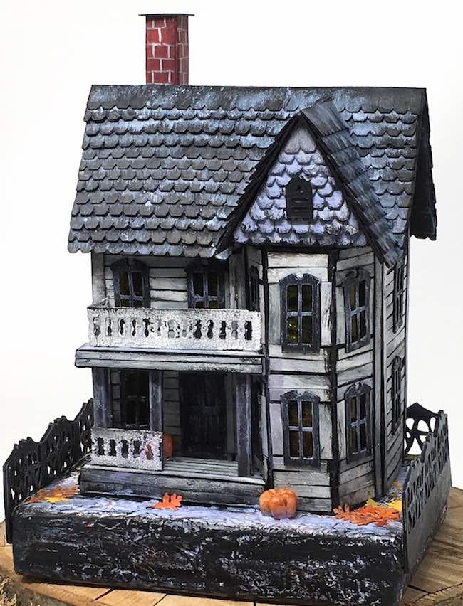 Miniature Spooky Halloween paper house