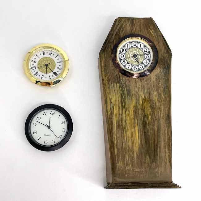 Miniature Haunted Clock painted wood grain