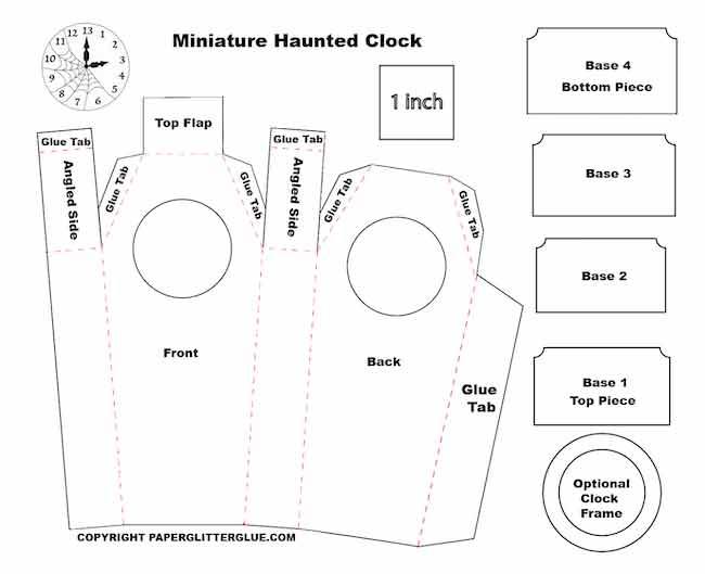 Miniature Haunted Clock printable pattern file