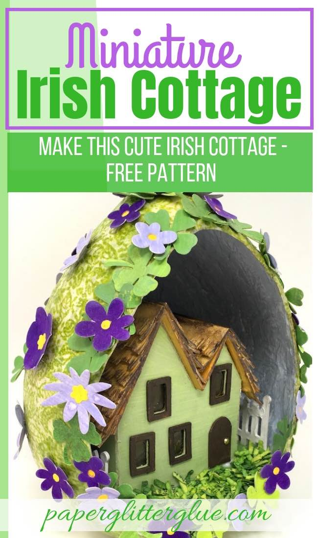 Miniature Irish Cottage paper house for St Patricks Day