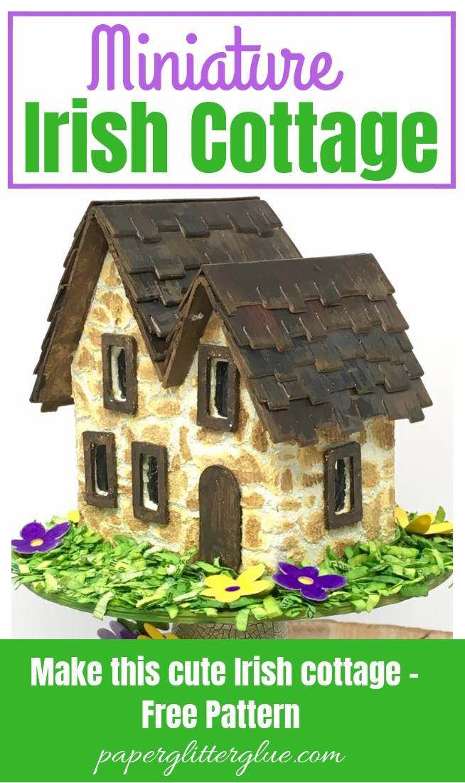 Miniature Irish Stone Cottage Putz House