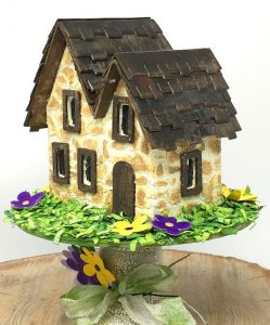 Miniature Irish Stone Cottage putz house for St. Patrick's day