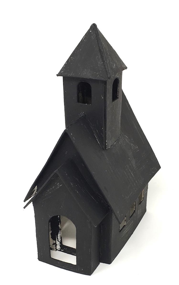 Miniature schoolhouse primed with black gesso paint