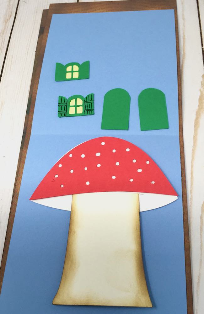 Mushroom house for gnome card