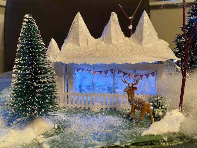 Nancy Cadjan Holiday Tent deer in front
