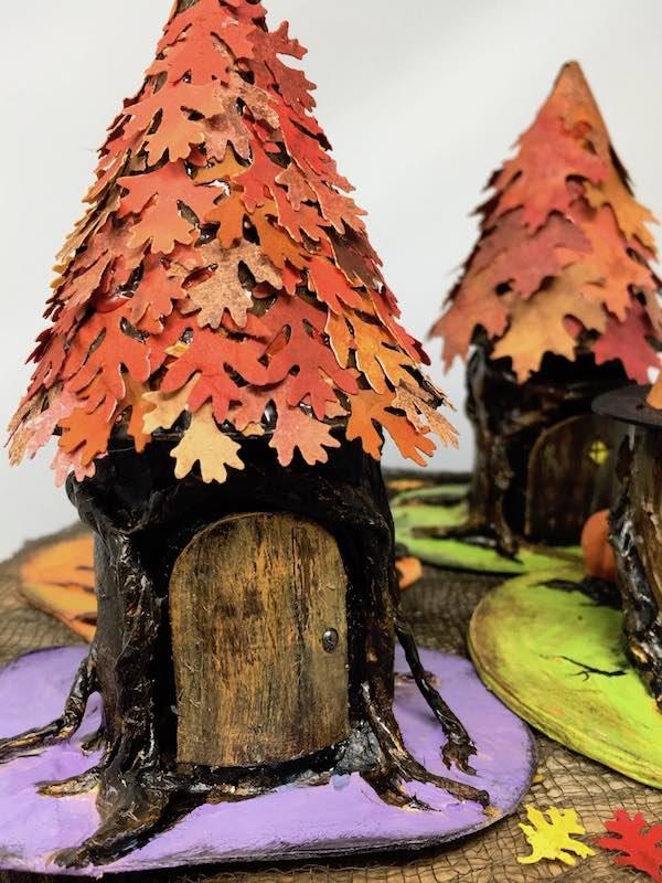 Oak leafy top tree stump house