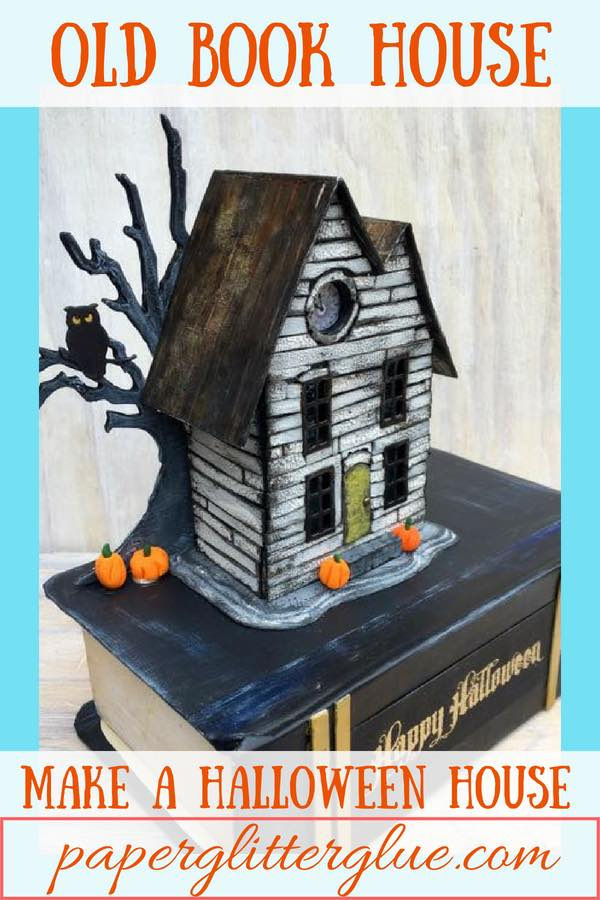 Old Book House Halloween house on book base - fun Halloween project #halloweenpaperhouse #howtomakehalloweenhouse #putzhouse #DIYhalloweencraft