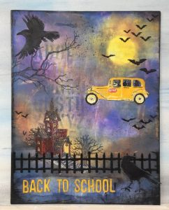 Overview of the witch bus driver back to school Halloween bus #halloweendecoration #papercraft