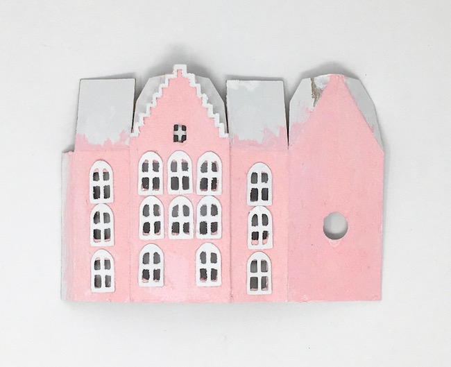 Painted cardboard facade no 1 miniature Dutch canal cardboard house