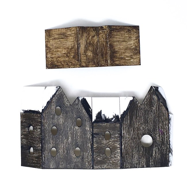 painted roof and main fairy house cardboard structure