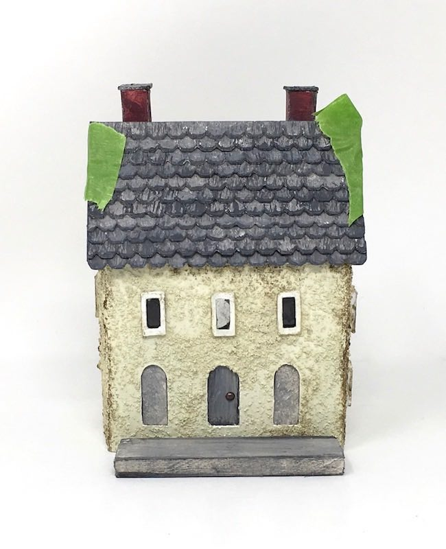 Painters tape to hold roof on miniature rough plaster house