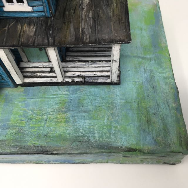 Painting and texture on cardboard base for Putz house