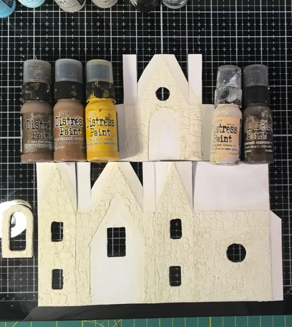 Stenciled stones on paper pattern for Christmas Farmhouse putz house #christmashouse #stonestencil #papercraft