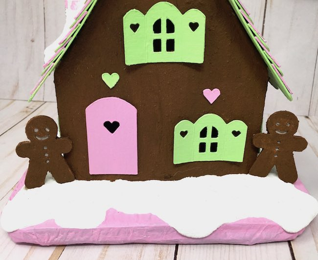 Paper Gingerbread cottage with gingerbread men