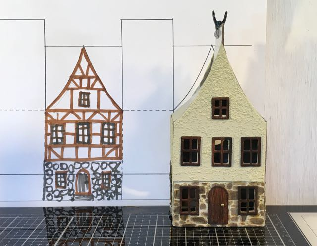 German Half-Timbered Paper House in progress #putzhouse #paperhouse #glitterhouse #papercraft