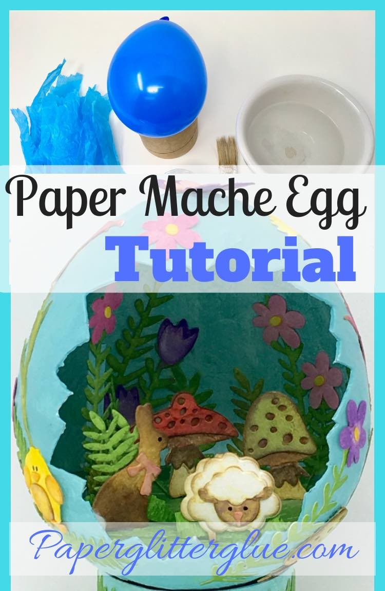 Paper Mache Egg Tutorial with simple materials: water balloon, paper, and glue
