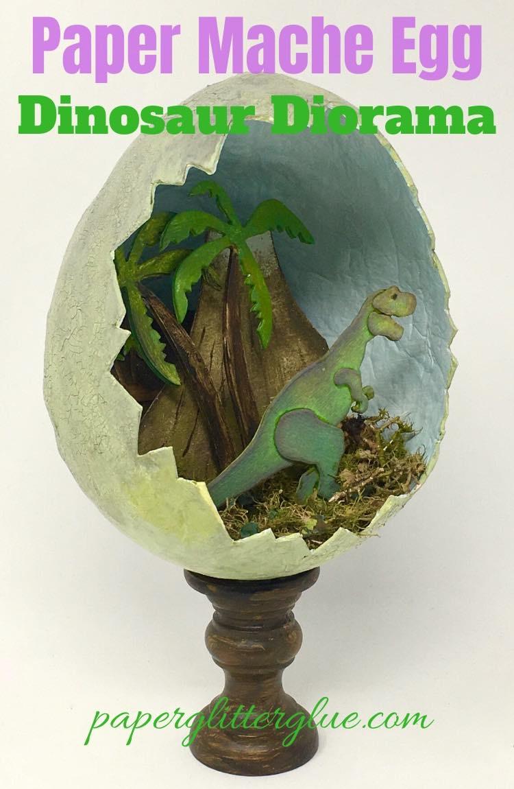 Paper Mache Egg dinosaur diorama