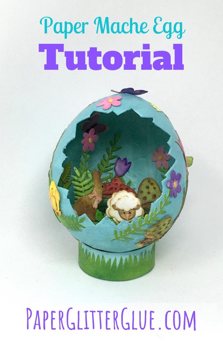 Paper Mache Egg tutorial diorama for Easter