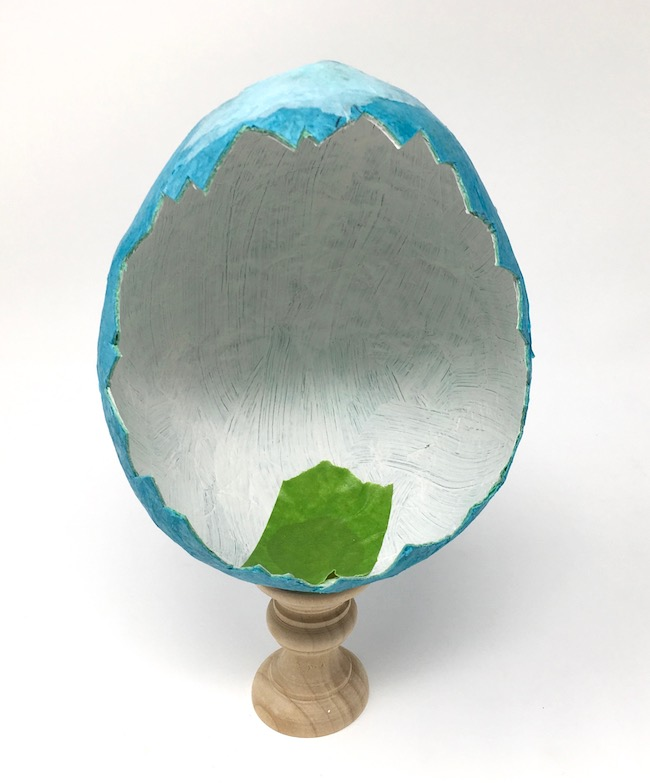 Paper Mache egg on finial as a base