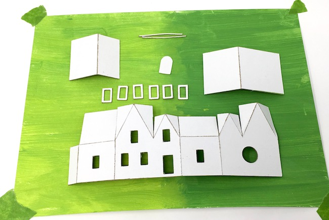 Paper house parts for Irish House for St. Patrick's Day