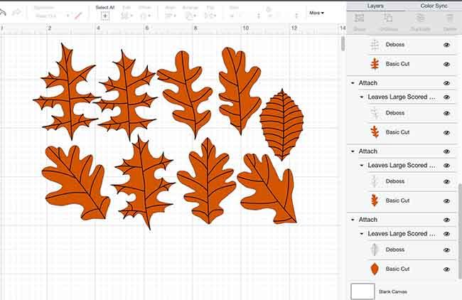 Paper leaves in Cricut Design Space deboss