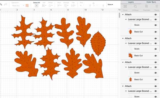 Paper leaves in Cricut Design Space score