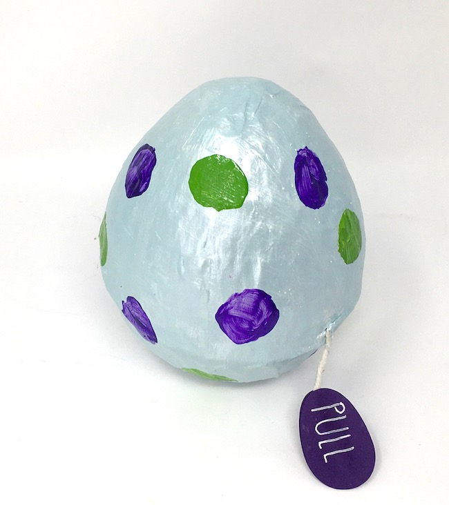 Paper mache Surprise Easter egg with bunny inside