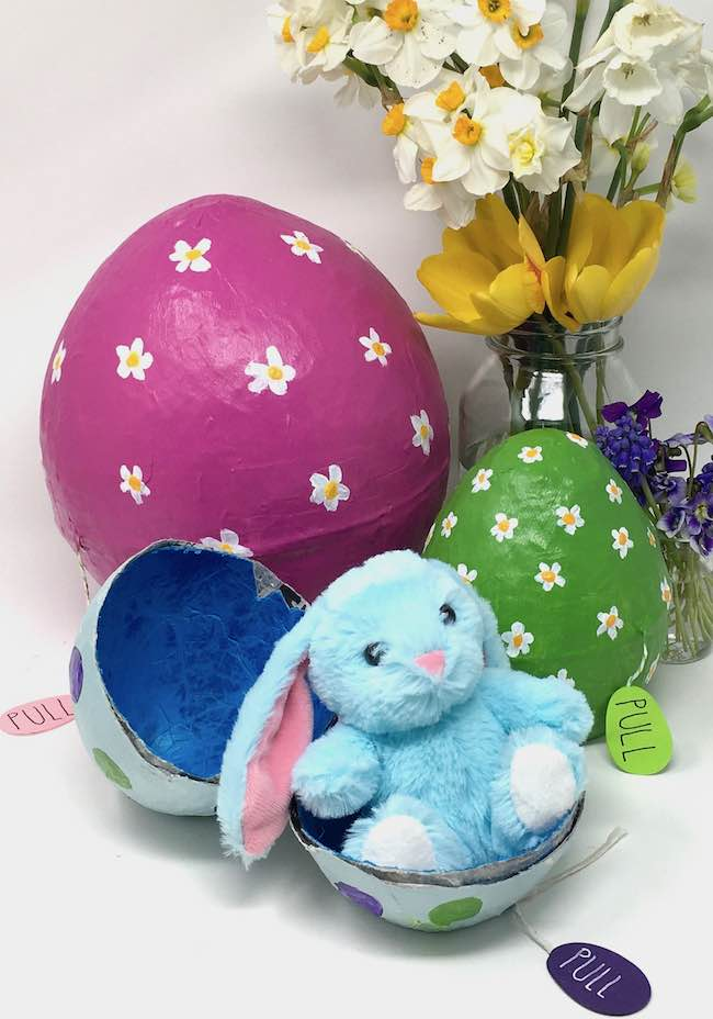 Paper mache eggs with surprises inside