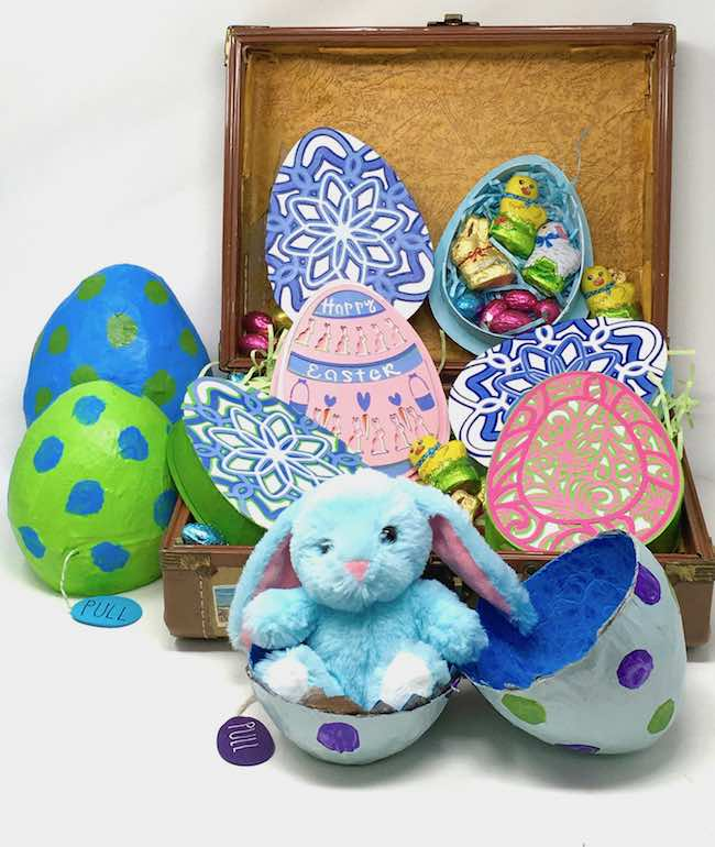 Paper mache surprise egg with mandala Easter egg boxes