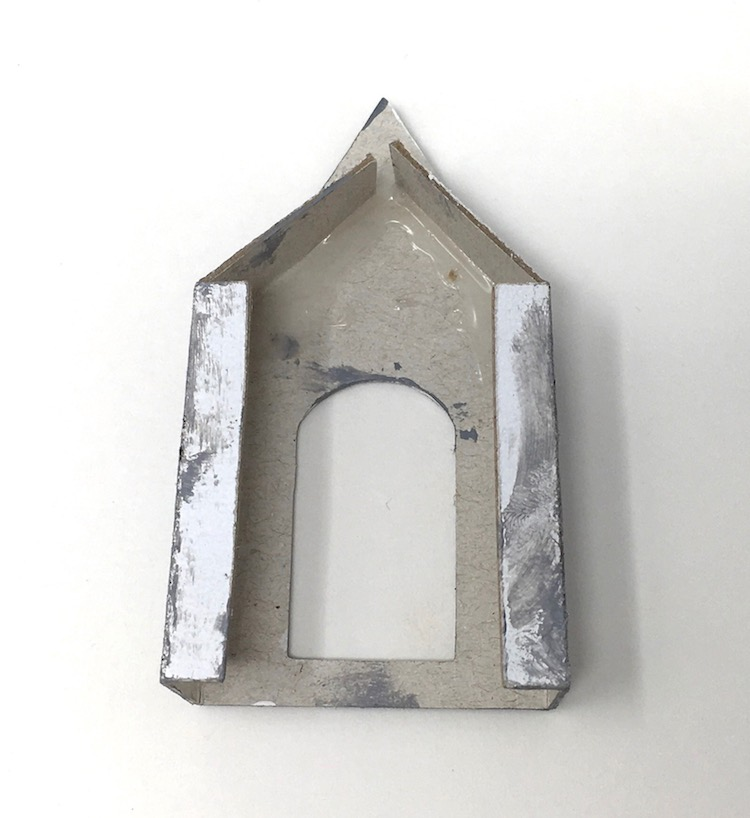 Paper school house front portico roof flaps glued
