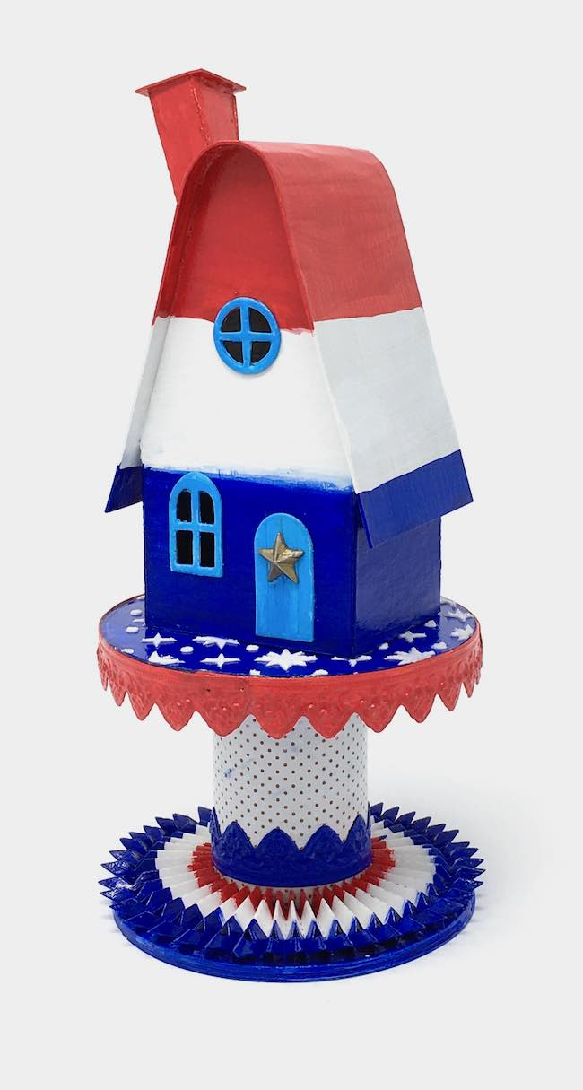 Patriotic Putz House on ribbon roll base