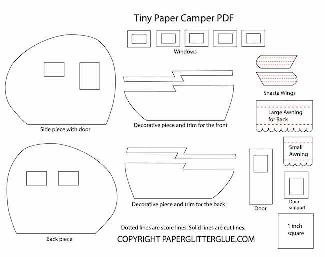 Template for decorate pieces on the tiny paper camper